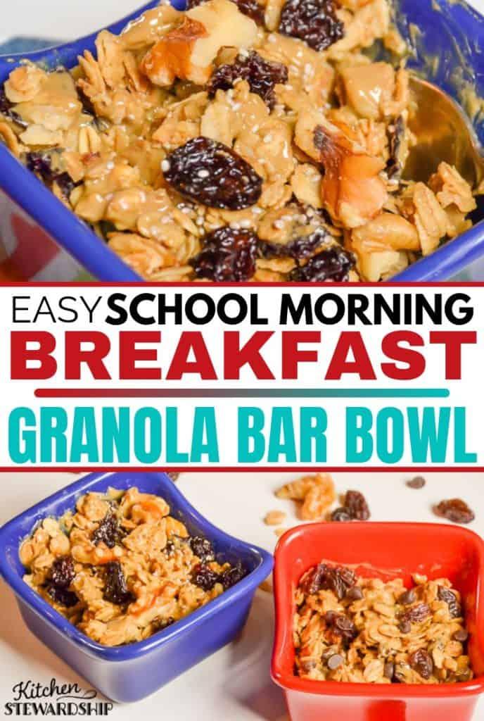 Easy School Morning Breakfast: Granola Bar Bowl