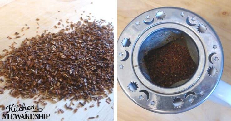 Rooibos red tea brewing