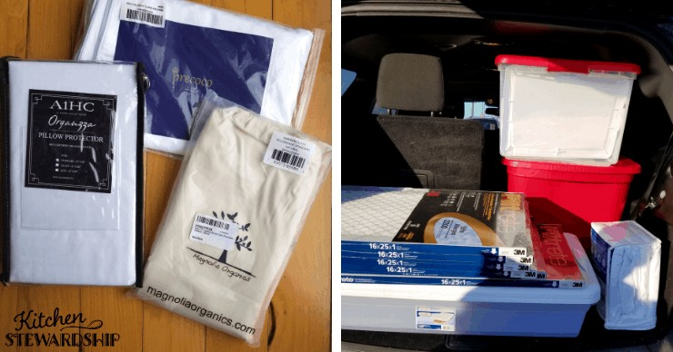 dust mite proof pillowcases and tubs and filters in a van
