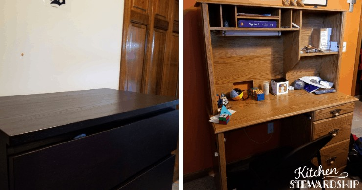 clean chest of drawers and desk in teen's room