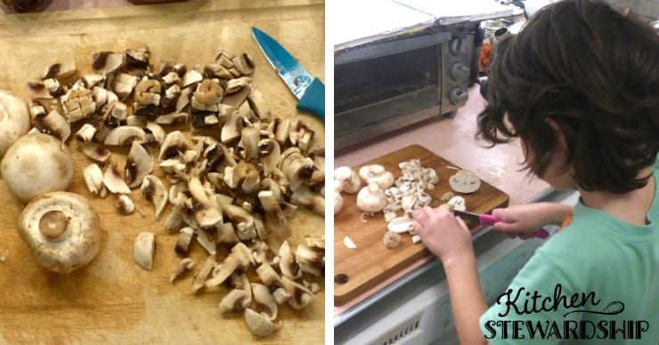 Mushrooms being chopped