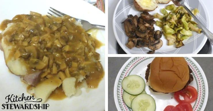 Meals containing mushrooms