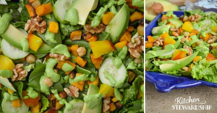 Recipe for Squash, Beet, and Avocado Salad with Creamy Pea-sto Dressing
