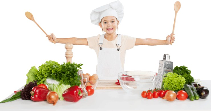 child chef ready to cook healthy food