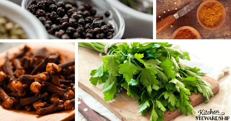 spices and herbs for gut healing include cloves, parsley, paprika, turmeric, black pepper