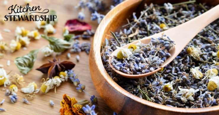 Bowl of dried herbs