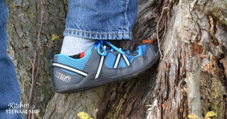 kid climbing in xero shoes, best barefoot shoes