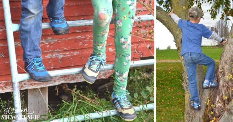 Kids climbing in barefoot shoes, cheap shoe for kids