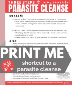 parasite diet printable shortcut guide