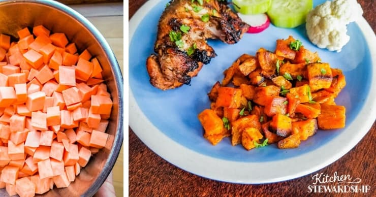 Sweet potatoes before and after roasting