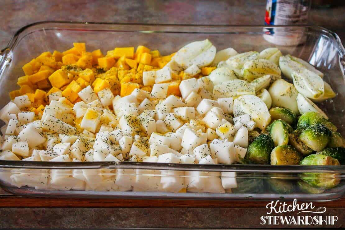 Veggies ready for roasting (golden beets, turnips, onions, Brussels sprouts)