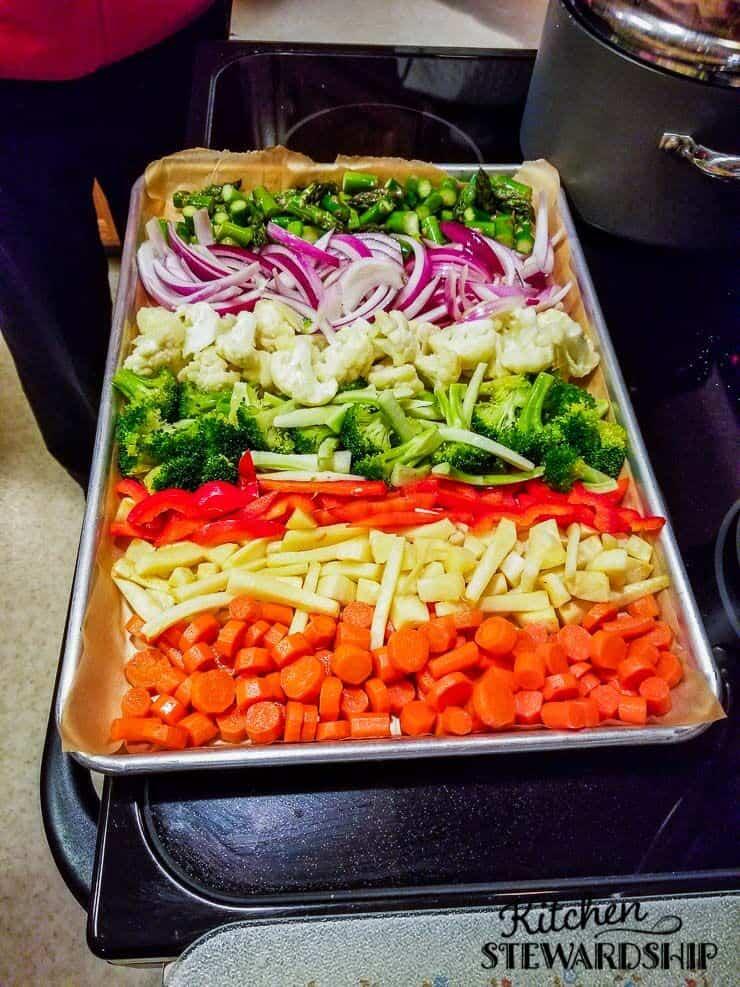Rainbow veggies for roasting