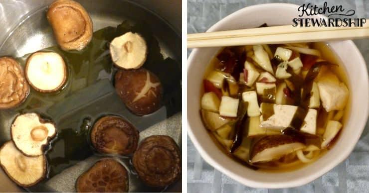 Kombu and mushroom soup