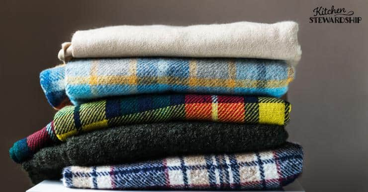 Stack of flannel blankets