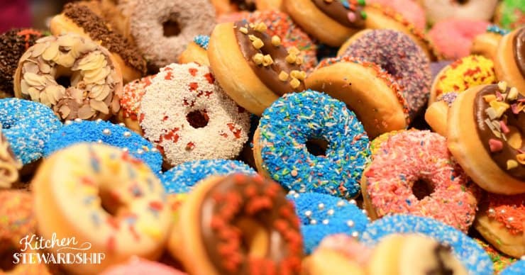 Donuts with colorful glaze and sprinkles