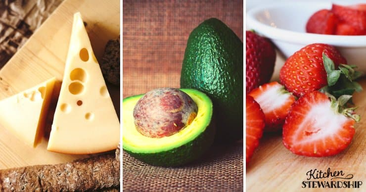 Cheese, avocado, and strawberries - healthy snack options