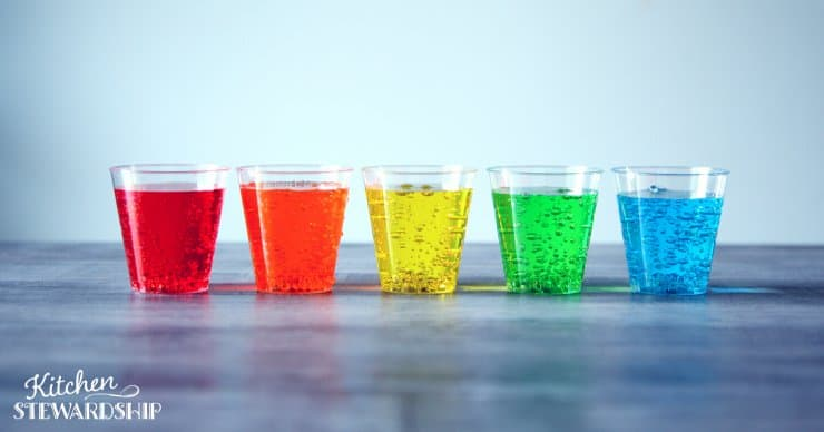 Glasses of colored water