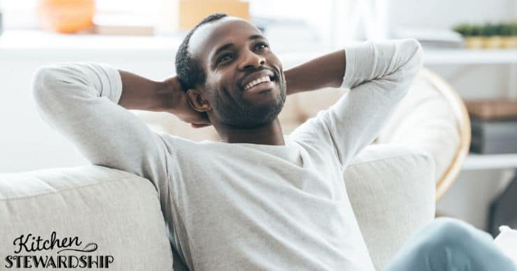 Man relaxing happily