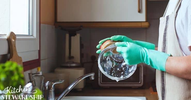 Man washing a bowl