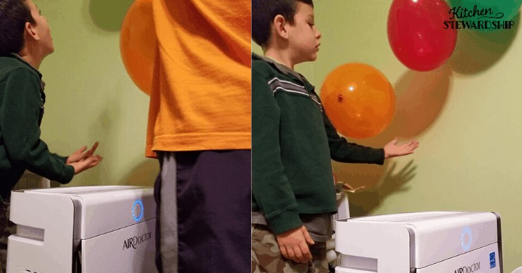 Little boys playing with AirDoctor Air Purifier