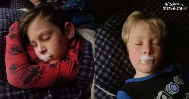 Kimball boys sleeping while mouth taping