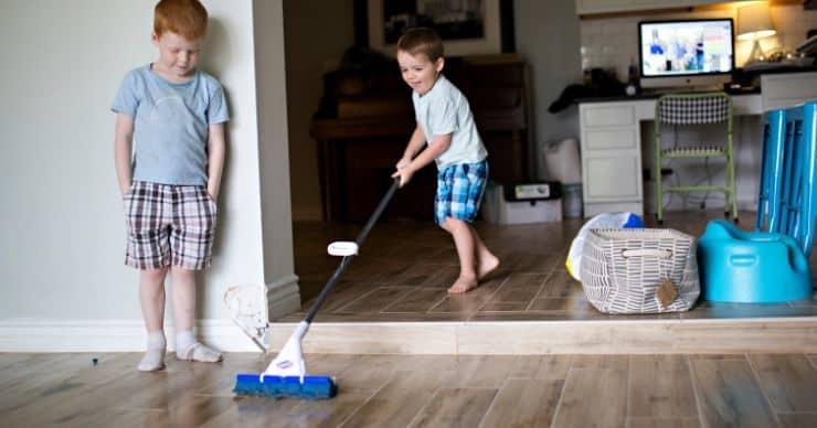 kids mopping floor