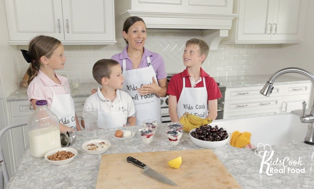 kids learning to cook