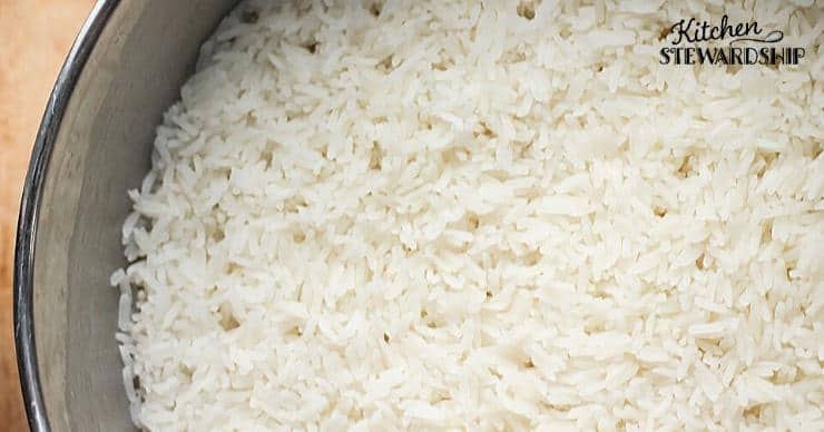 Rice in the Instant Pot insert, rice in the pressure cooker
