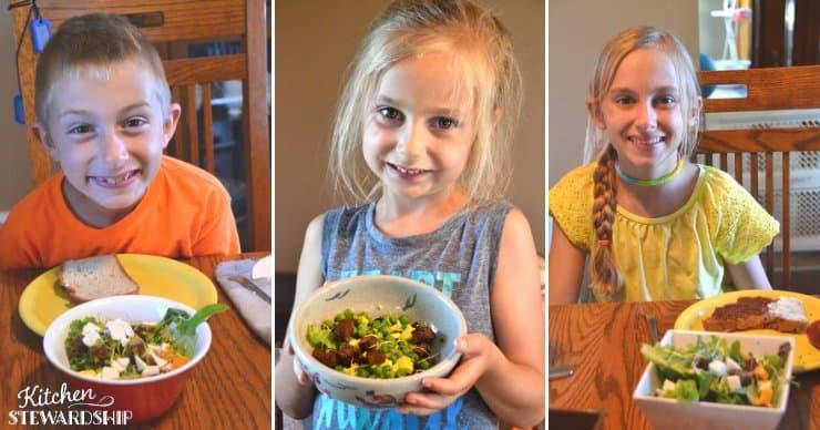 kids eating salad