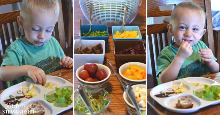 toddler eating salad