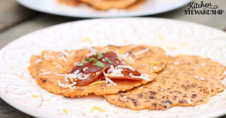 Keto tortillas on a plate with pepperoni and cheese made with the grain free keto tortillas recipe