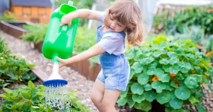 girl watering vegetables