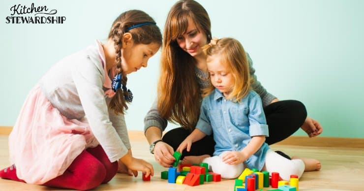 family playing blocks