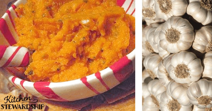 Sweet Potato Garlic Dip, party finger food ideas on a budget
