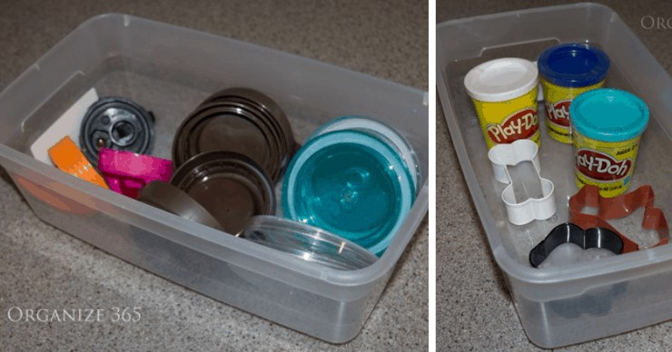 organize play doh and lids with shoe boxes