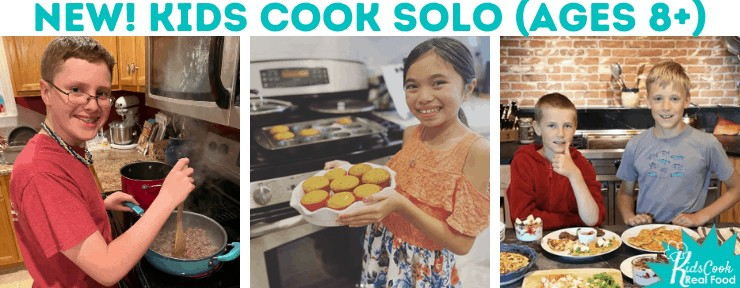 Kids Cook Solo banner with kids cooking in the kitchen