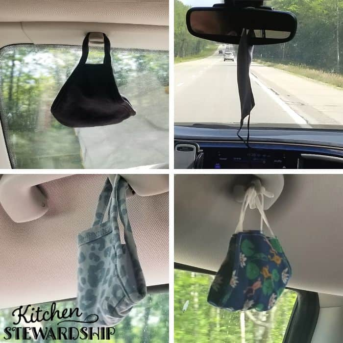 face masks hanging in the car