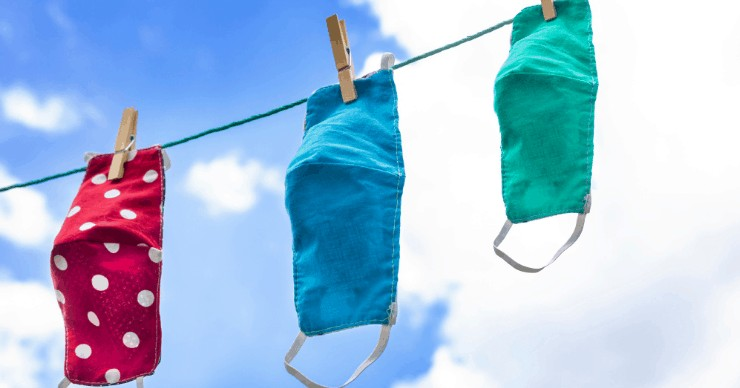 face masks hanging to dry