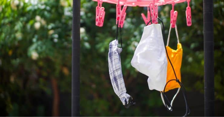 cloth masks hanging to dry