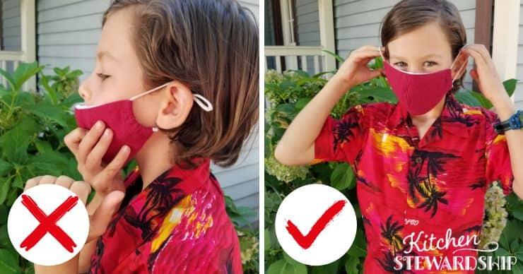 boy adjusting face mask correctly and incorrectly