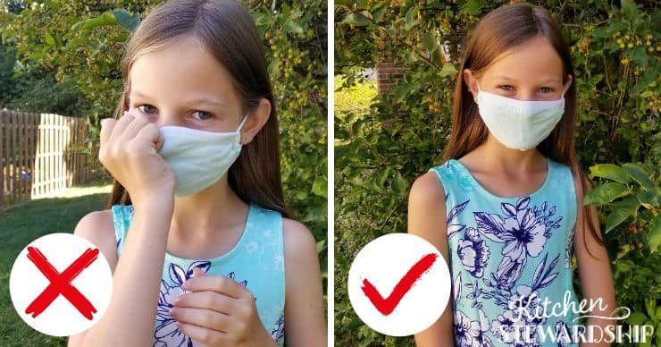 girl wearing a mask correctly and incorrectly