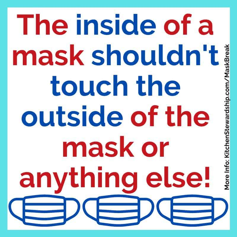 The inside of a mask shouldn't touch the outside of the mask or anything else!