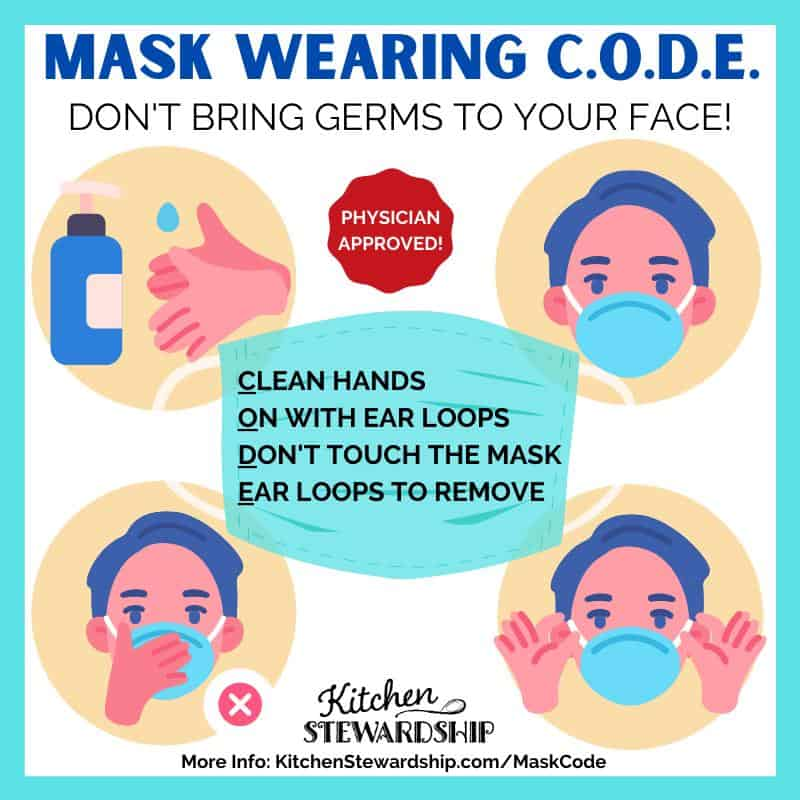 Mask Wearing Safety C.O.D.E Don't bring germs to your face