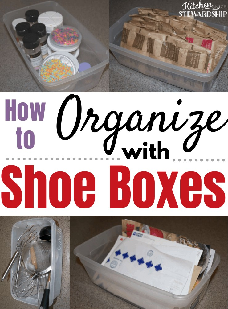 Organize with shoe boxes in your kitchen