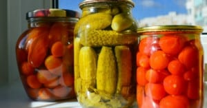 vegetables in glass jars