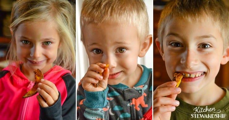 kids eating air fryer fries