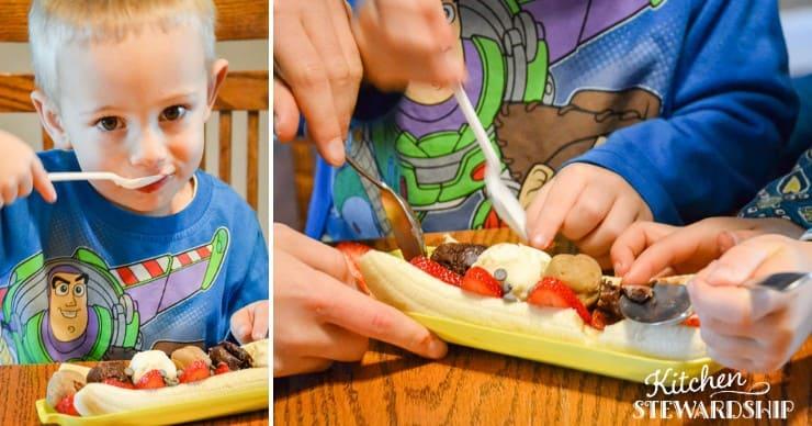 kid eating a banana split