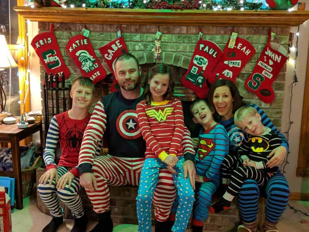 family in Christmas jammies