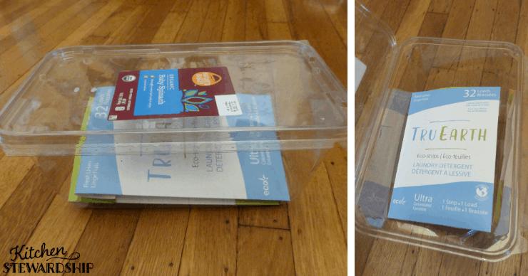 Tru Earth laundry strips in a plastic box