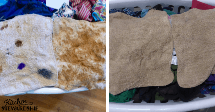washcloths before and after washing